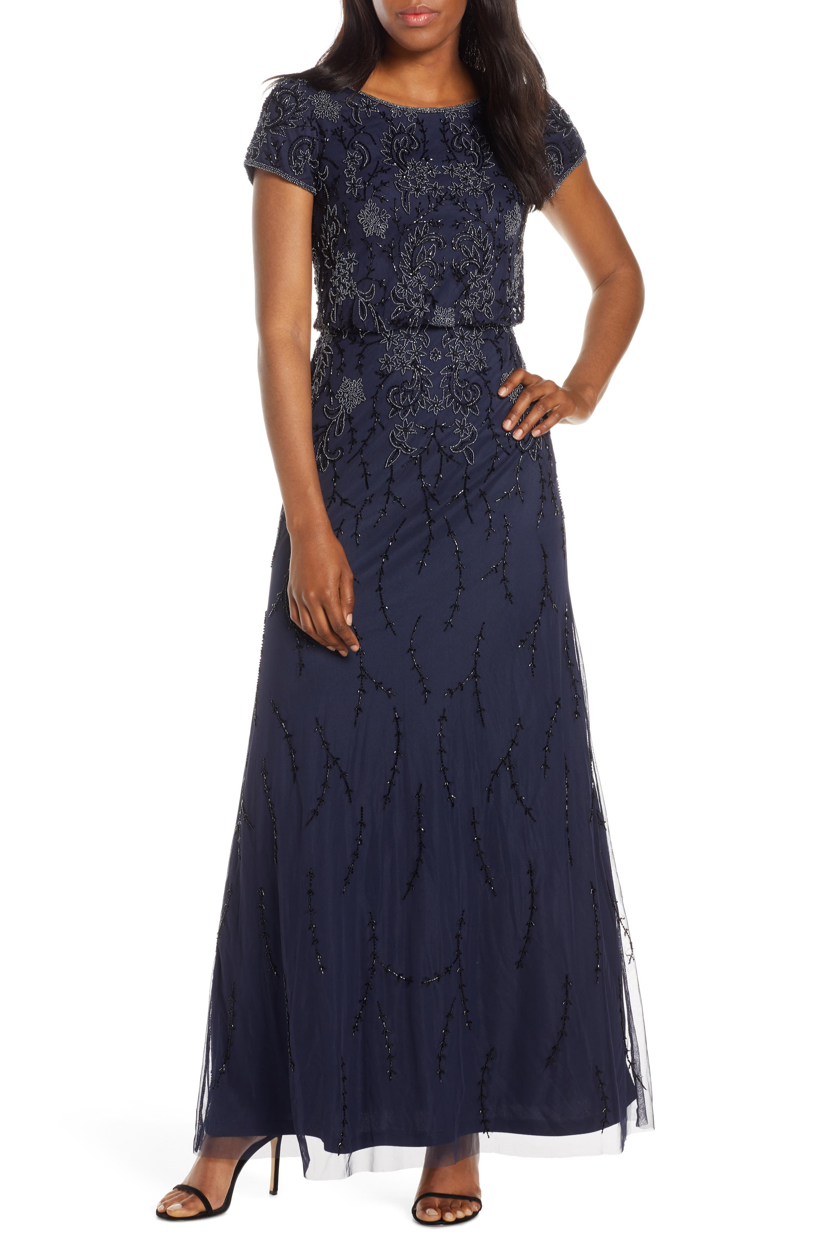 Adrianna Papell Bead Embellished Evening Gown, Blue