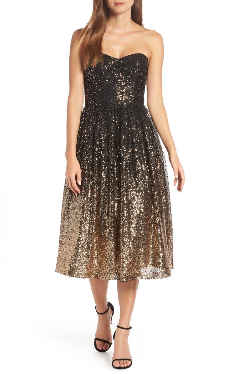 ELIZA J Strapless Midi Dress, Main, color, 001
