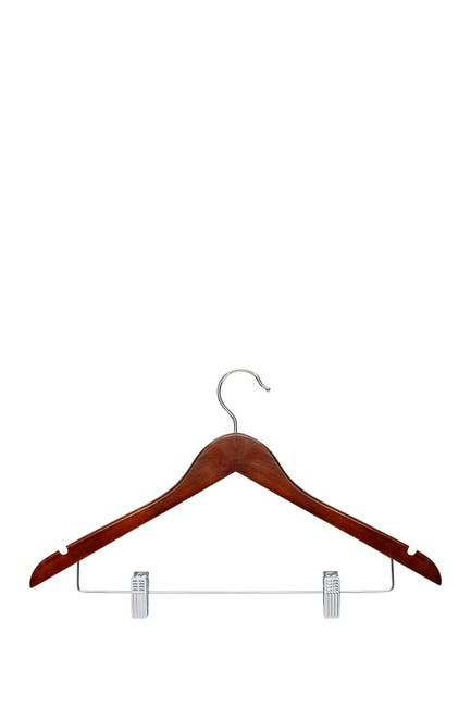 Image of Honey-Can-Do Cherry Wood Suit Hangers - Pack of 12