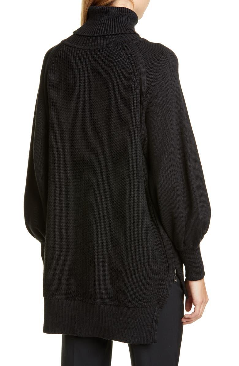 ADEAM Side Zip Bishop Sleeve Sweater, Main, color, BLACK