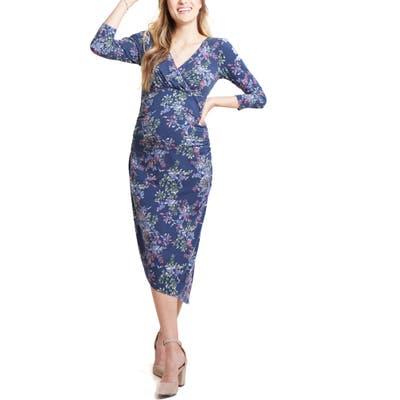 Ingrid & Isabel Asymmetrical Hem Midi Maternity/nursing Dress, Blue