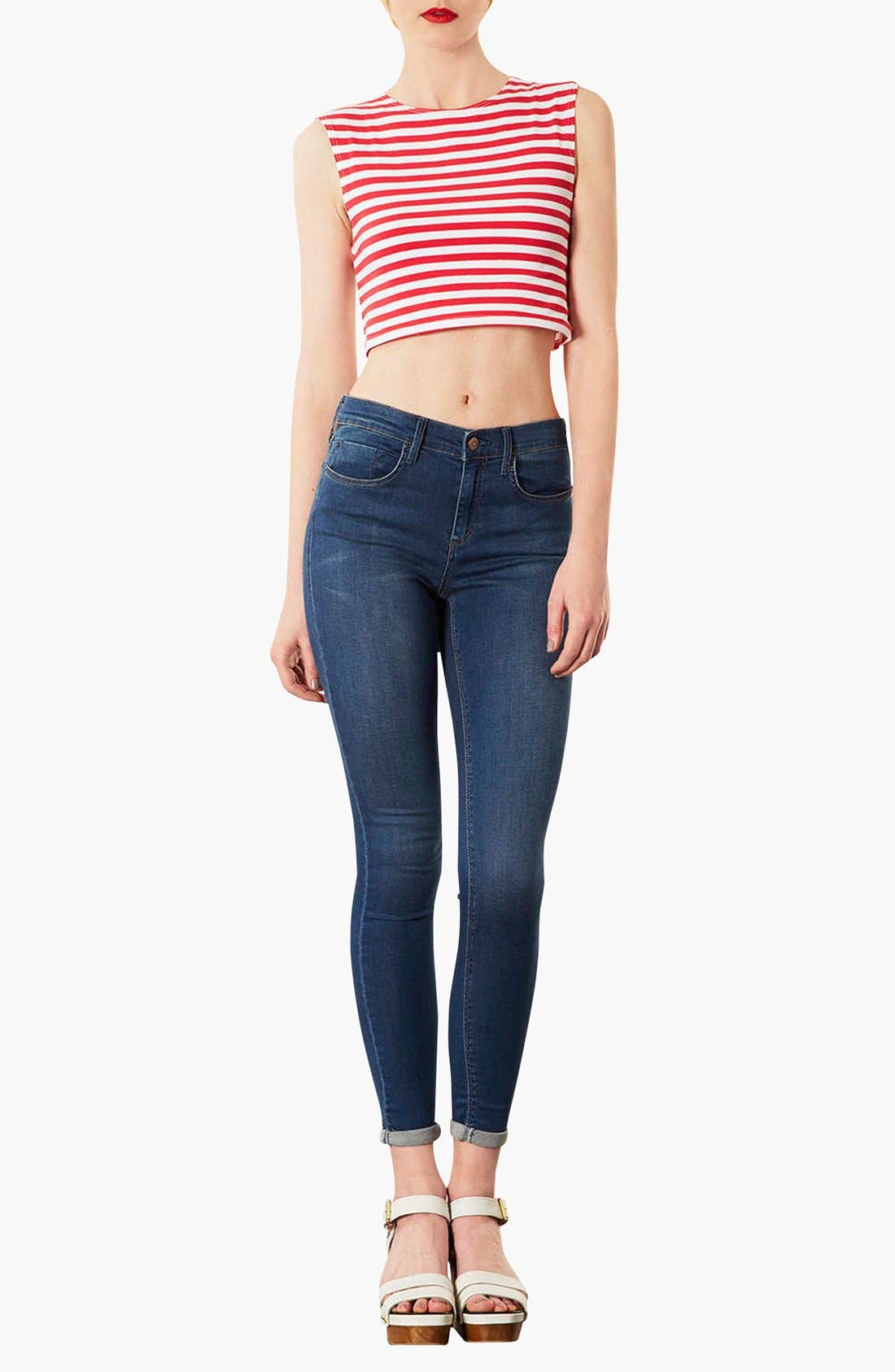 ,                             Moto 'Leigh' Skinny Ankle Jeans,                             Alternate thumbnail 3, color,                             401