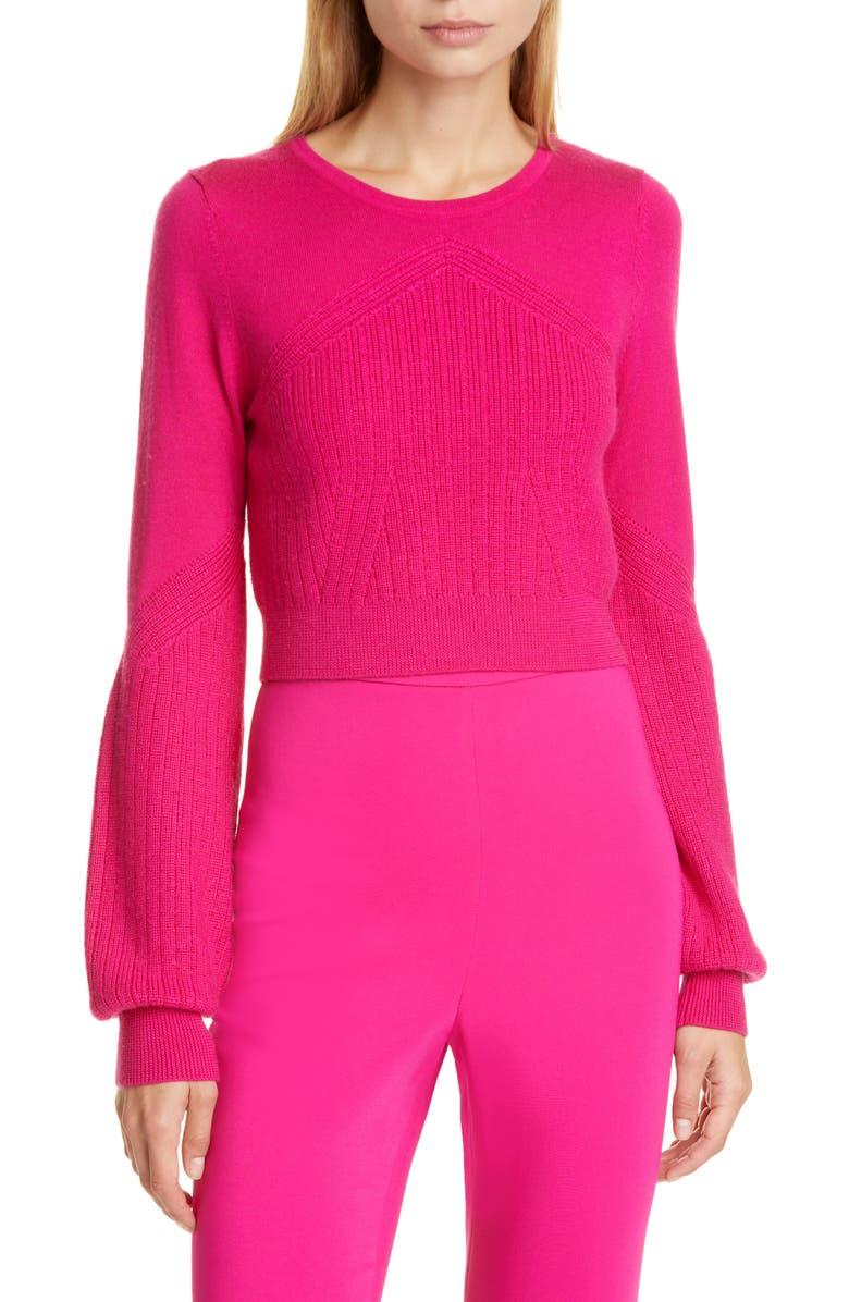 CUSHNIE Wool, Silk & Cashmere Crop Sweater, Main, color, AZALEA