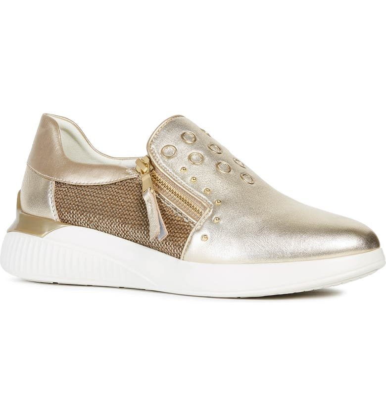 GEOX Therago Metallic Zip Sneaker, Main, color, GOLD LEATHER