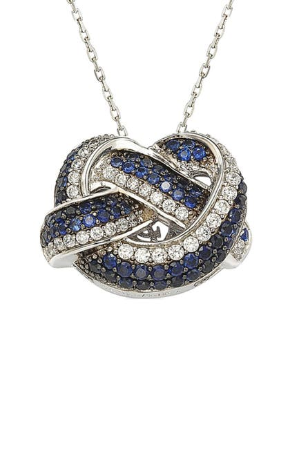 Image of Suzy Levian Two-Tone Blue Sapphire, Created White Sapphire & Brown Diamond Pendant Necklace