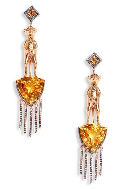 Daniela Villegas Meerkat Earrings In Yellow Gold