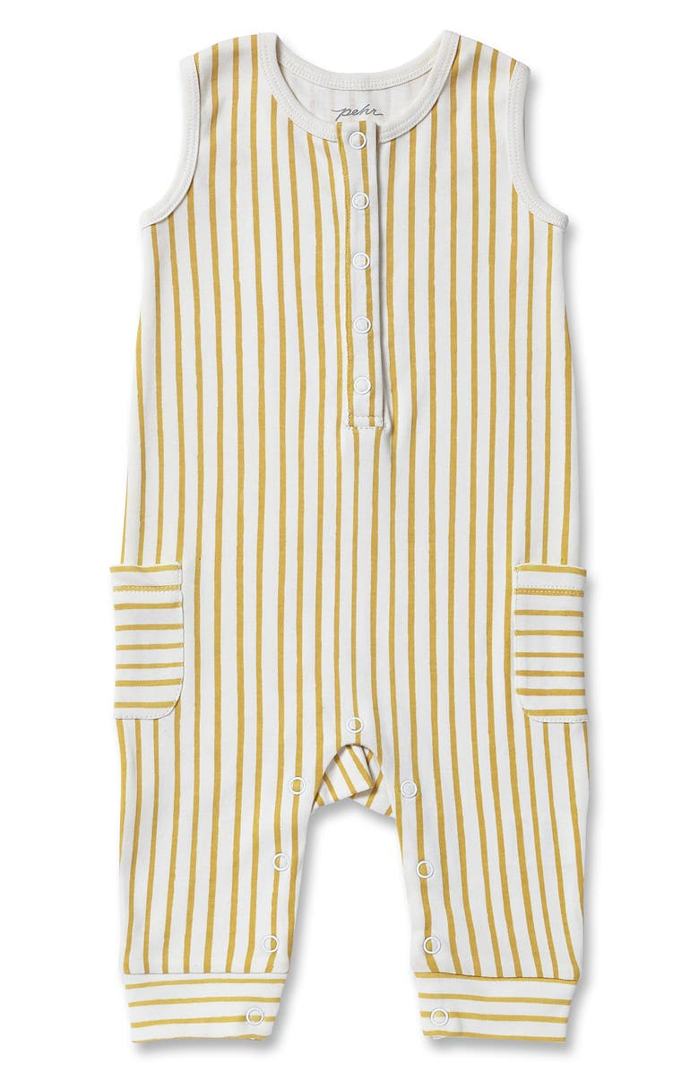 PEHR Stripes Away Organic Cotton Romper, Main, color, MARIGOLD
