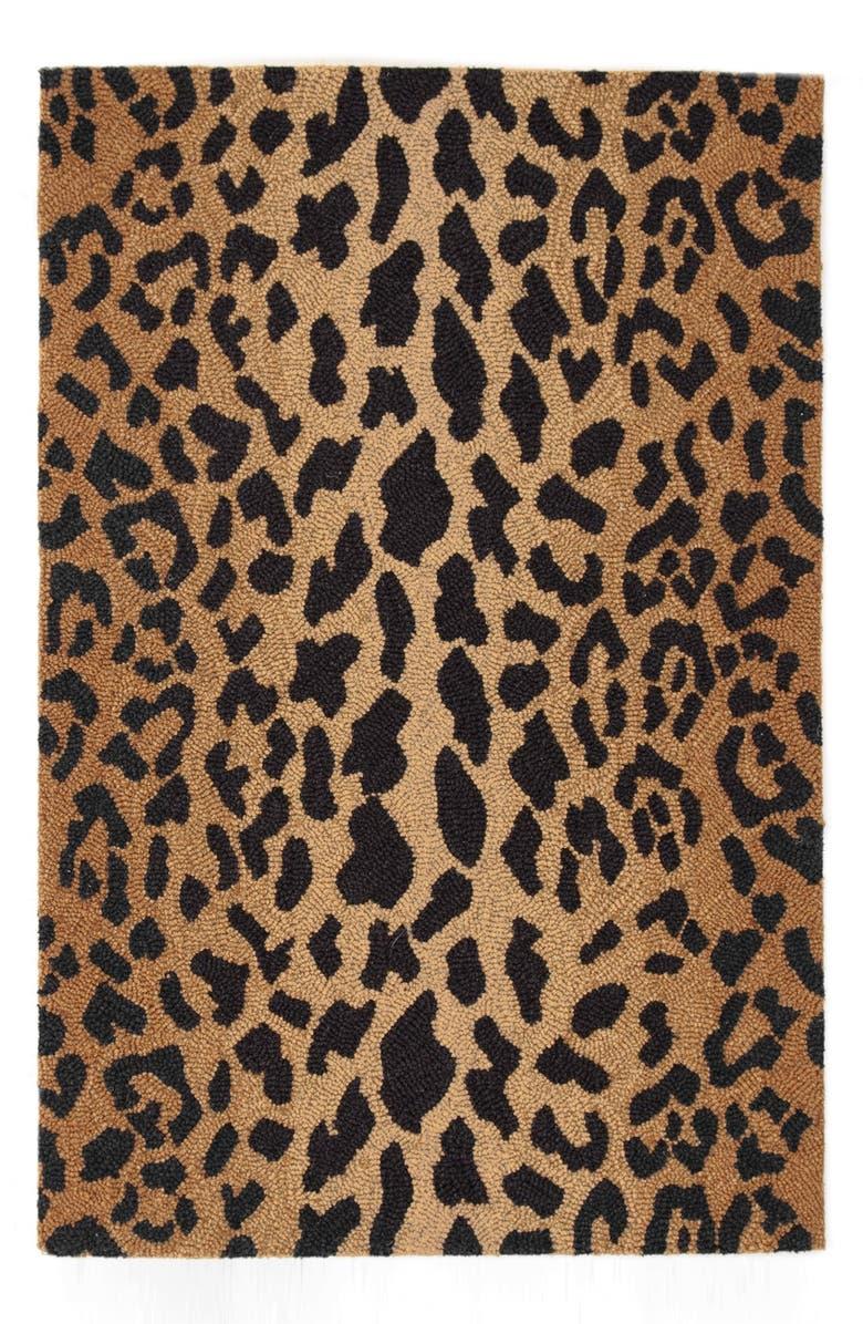 DASH & ALBERT Leopard Print Wool Rug, Main, color, BROWN