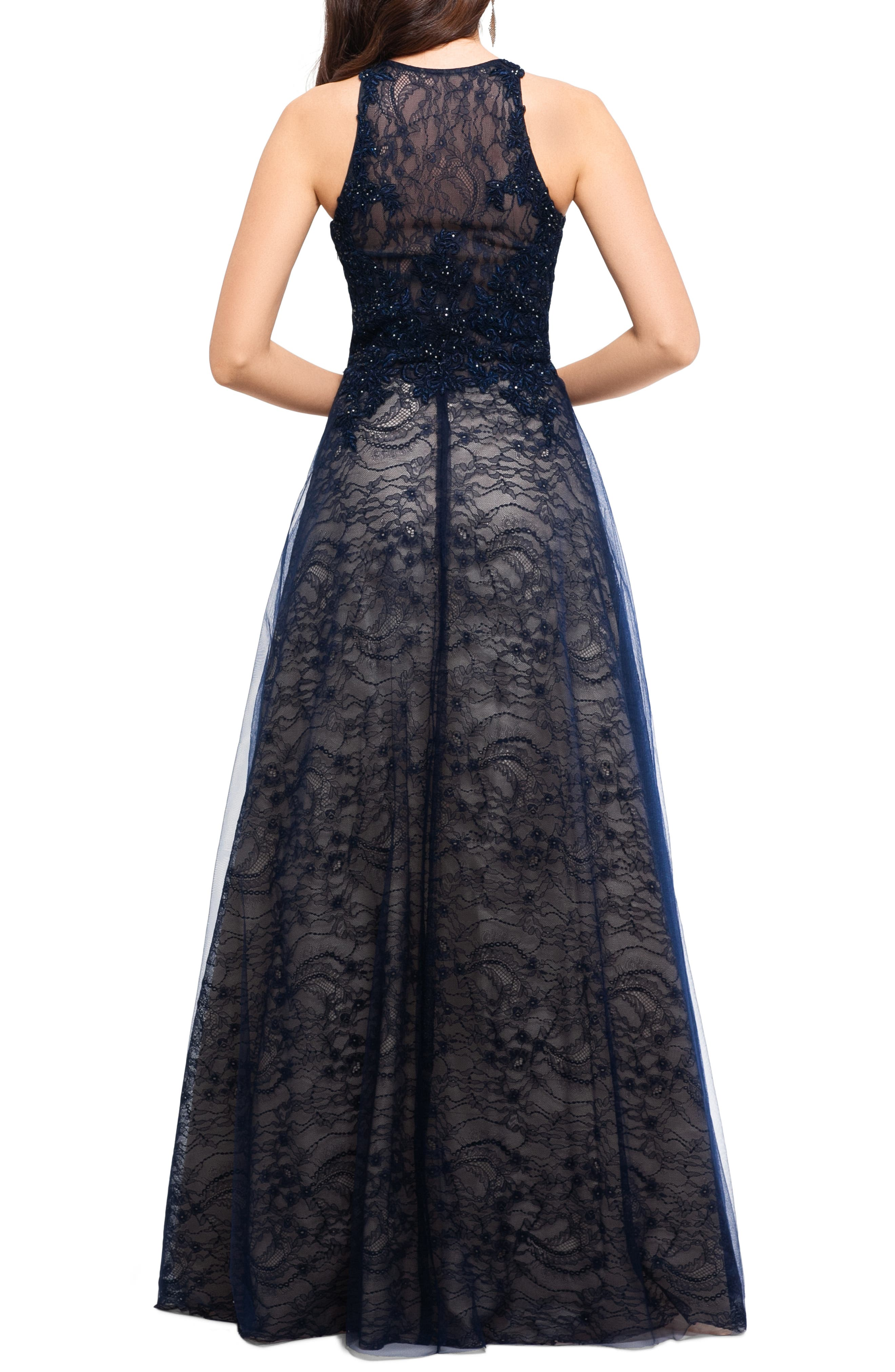 ,                             Sparkling Lace Evening Dress,                             Alternate thumbnail 2, color,                             NAVY