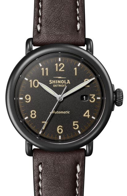 Shinola Watches RUNWELL AUTOMATIC LEATHER STRAP WATCH, 45MM