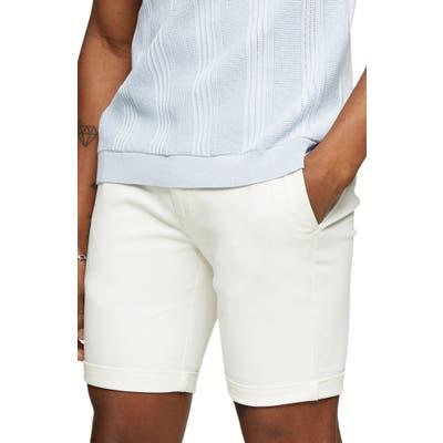 Topman Stretch Skinny Chino Shorts, White