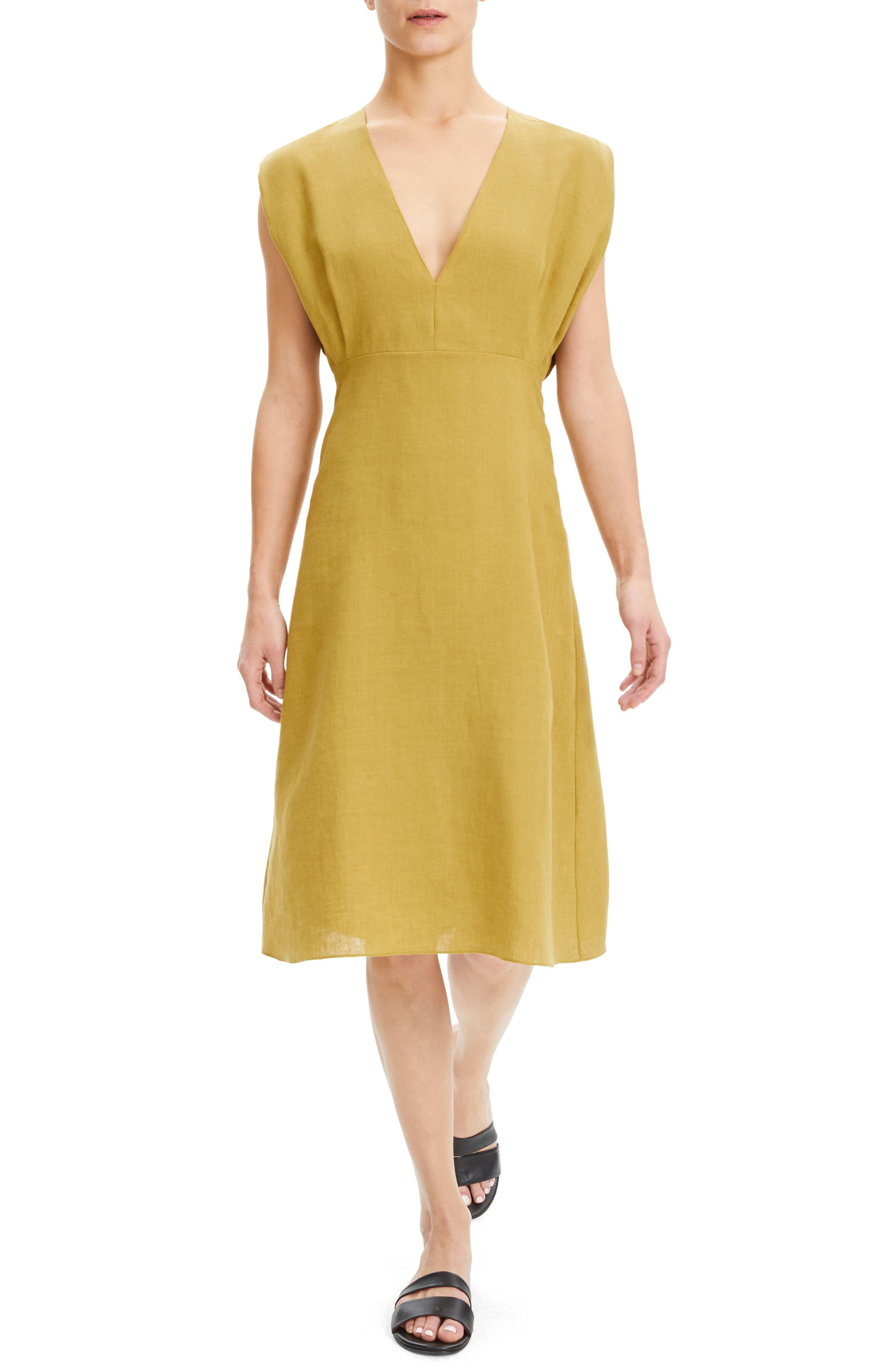 Image of Theory Plunge Neck Linen Dress
