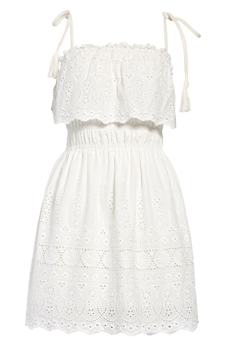 KIRIOUS Popover Eyelet Sundress, Main, color, WHITE