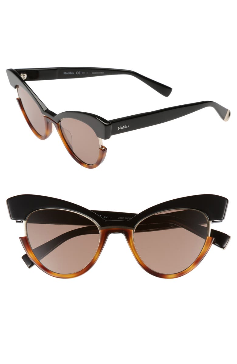 MAX MARA 49mm Gradient Lens Cat Eye Sunglasses, Main, color, BLACK HAVANA