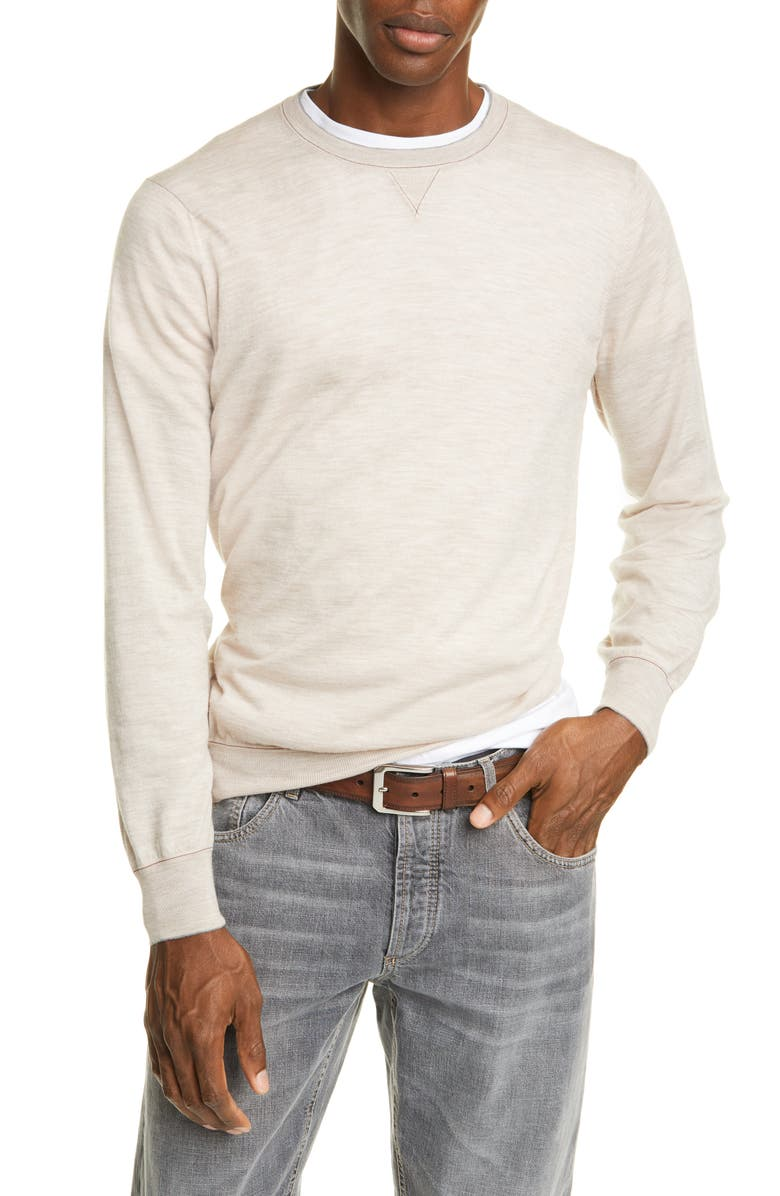 BRUNELLO CUCINELLI Wool & Cashmere Crewneck Sweater, Main, color, GRAIN