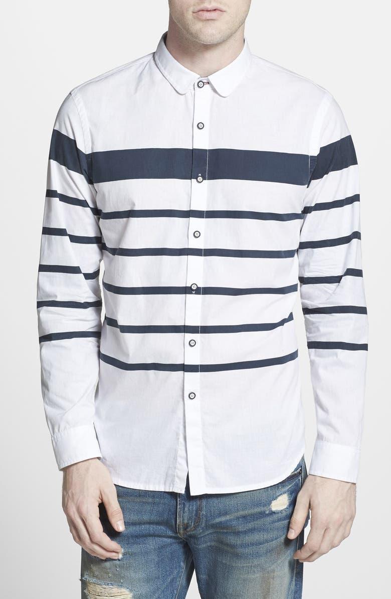 HOWE 'Hideaway' Trim Fit Stripe Woven Shirt, Main, color, 178