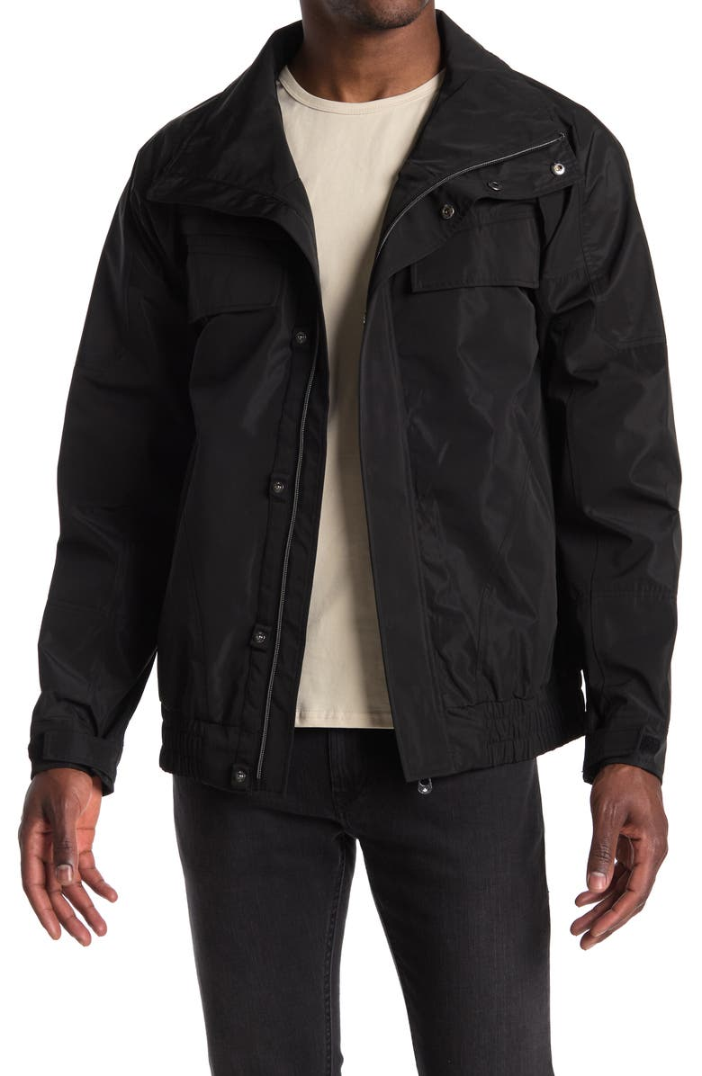 NOIZE Bonded Poly Rain Bomber Jacket, Main, color, BLACK