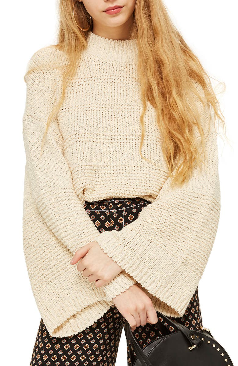 TOPSHOP Natural Yarn Bell Sleeve Sweater, Main, color, 900