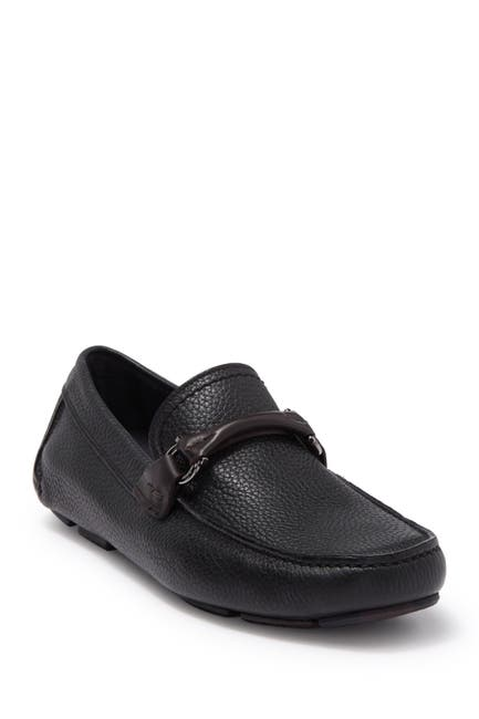 Image of Salvatore Ferragamo Moc Toe Metal Bit Leather Loafer