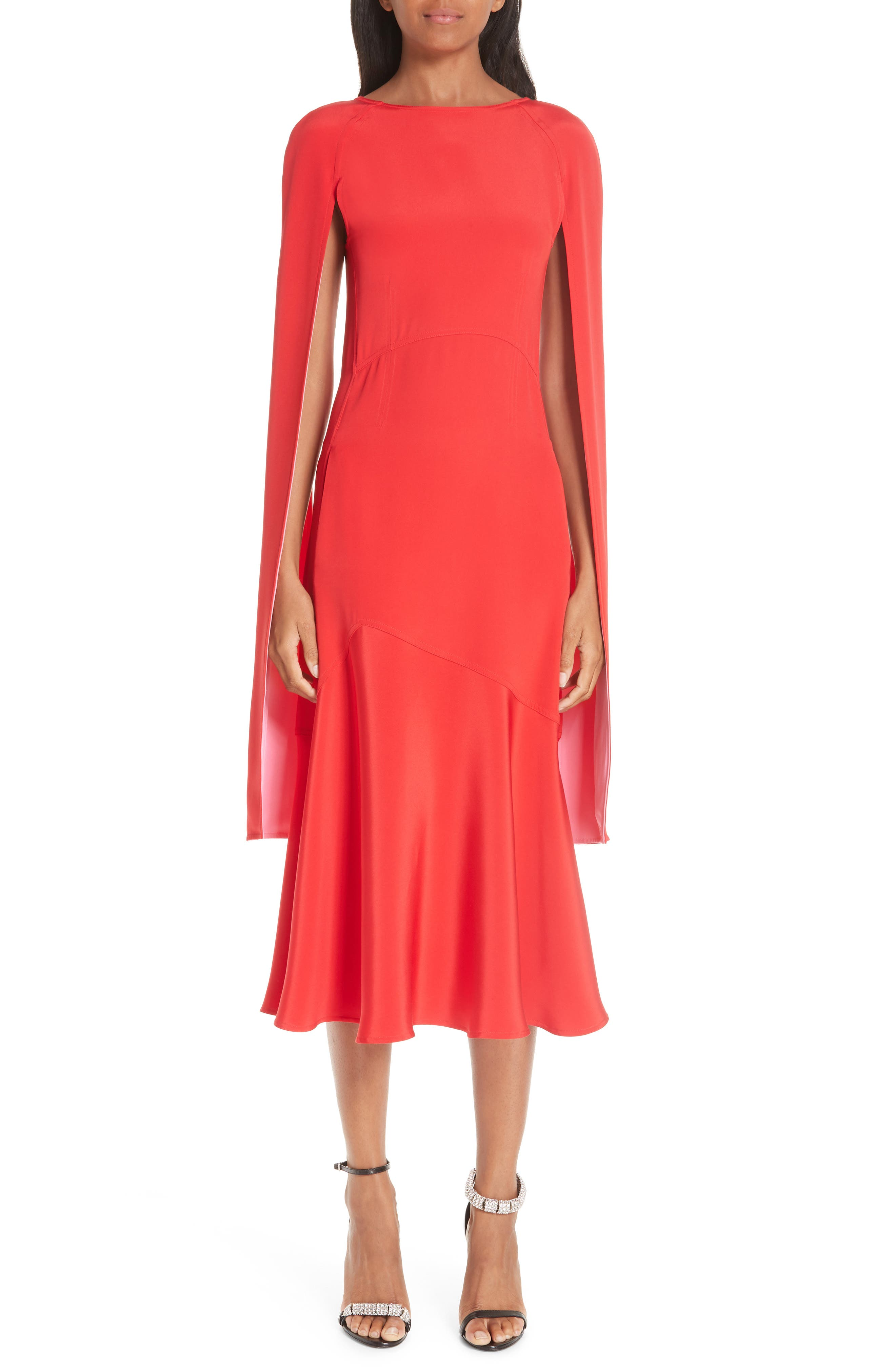 ,                             Cape Sleeve Silk Cady Midi Dress,                             Main thumbnail 1, color,                             RED CARNATION PINK