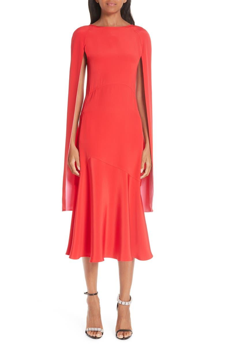 CALVIN KLEIN 205W39NYC Cape Sleeve Silk Cady Midi Dress, Main, color, 600