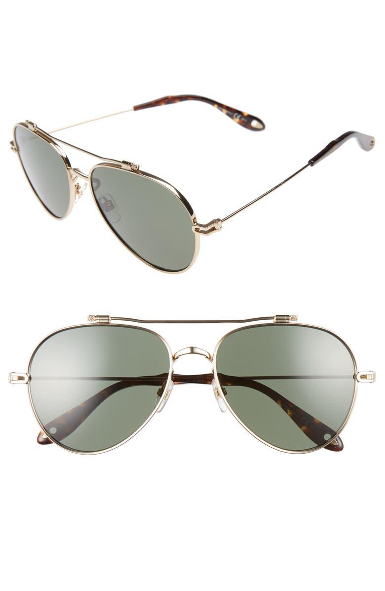 GIVENCHY 58mm Aviator Sunglasses, Main, color, 710