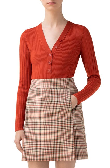Image of Akris punto Rib Merino Wool Henley Sweater