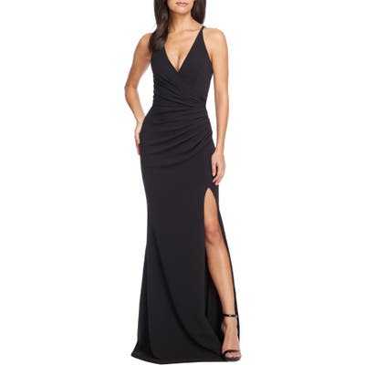 Dress The Population Jordan Ruched Mermaid Gown, Black