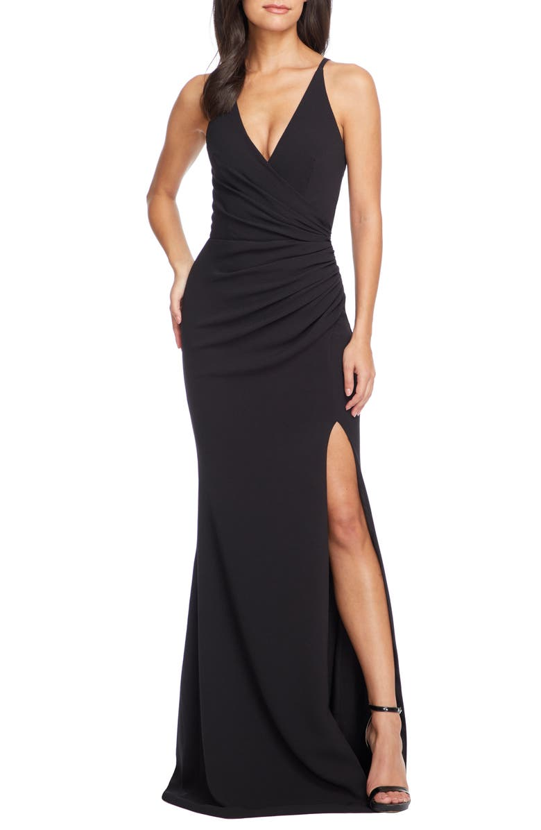 DRESS THE POPULATION Jordan Ruched Side Slit Gown, Main, color, 001