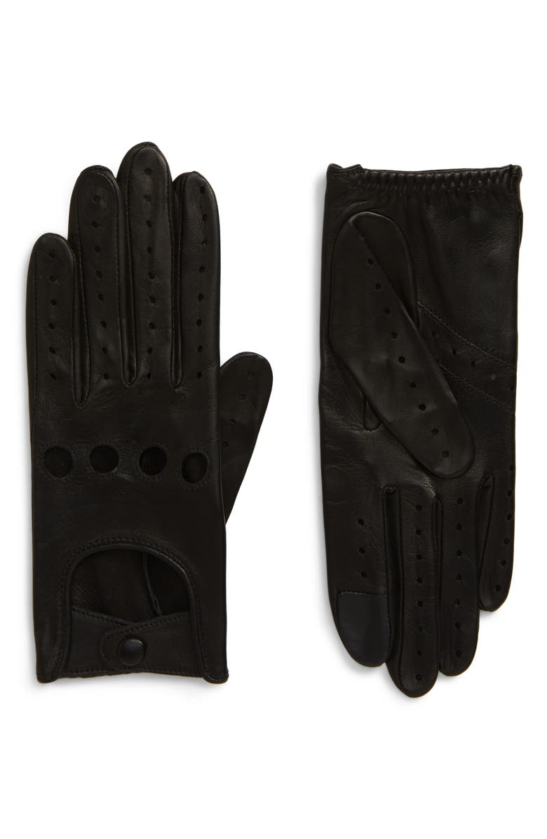 AGNELLE Lambskin Leather Driving Gloves, Main, color, BLACK