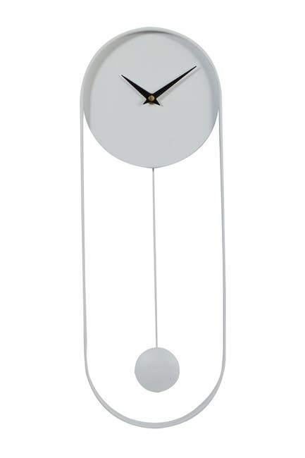 """Image of CosmoLiving by Cosmopolitan Oval White Metal Pendulum Wall Clock - 20"""" X 7.5"""""""