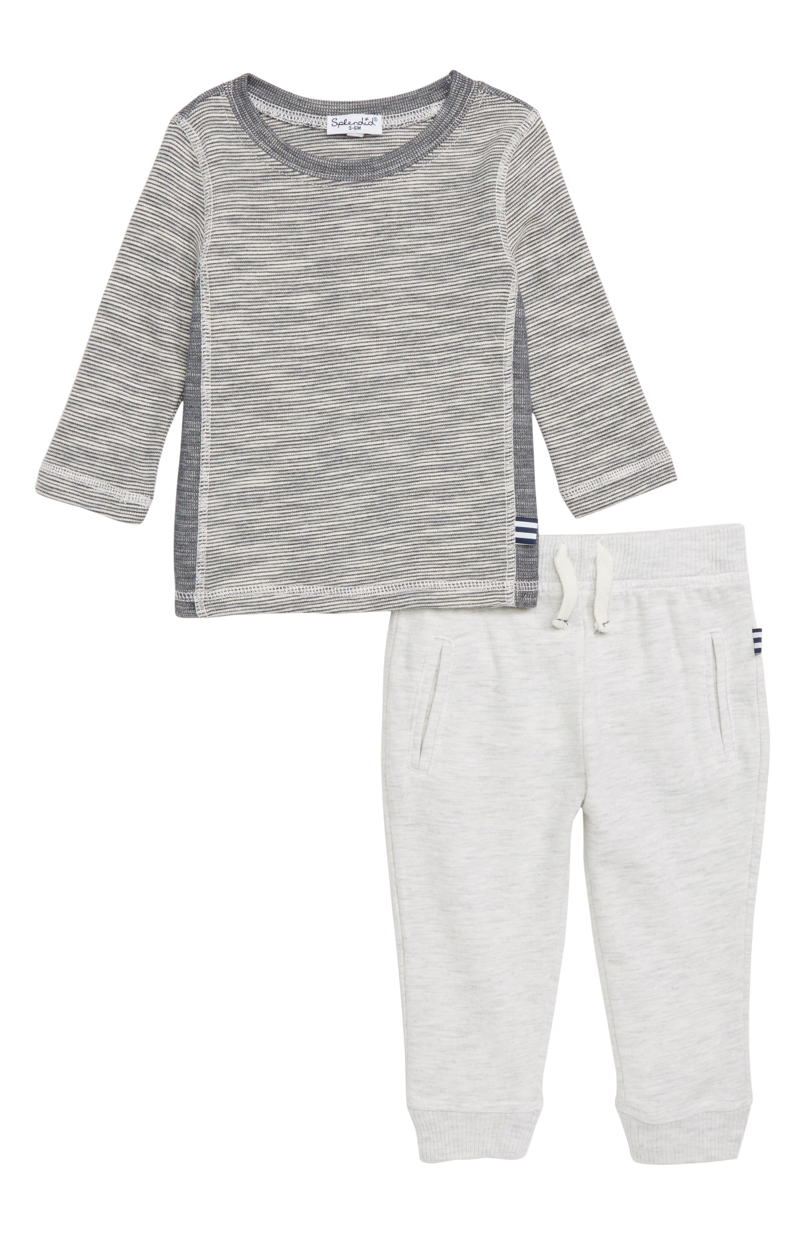 ,                             Stripe Top & Jogger Pants,                             Main thumbnail 1, color,                             020
