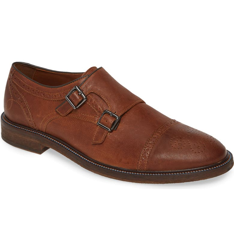 J&M 1850 Brewer Double Monk Strap Shoe, Main, color, TAN