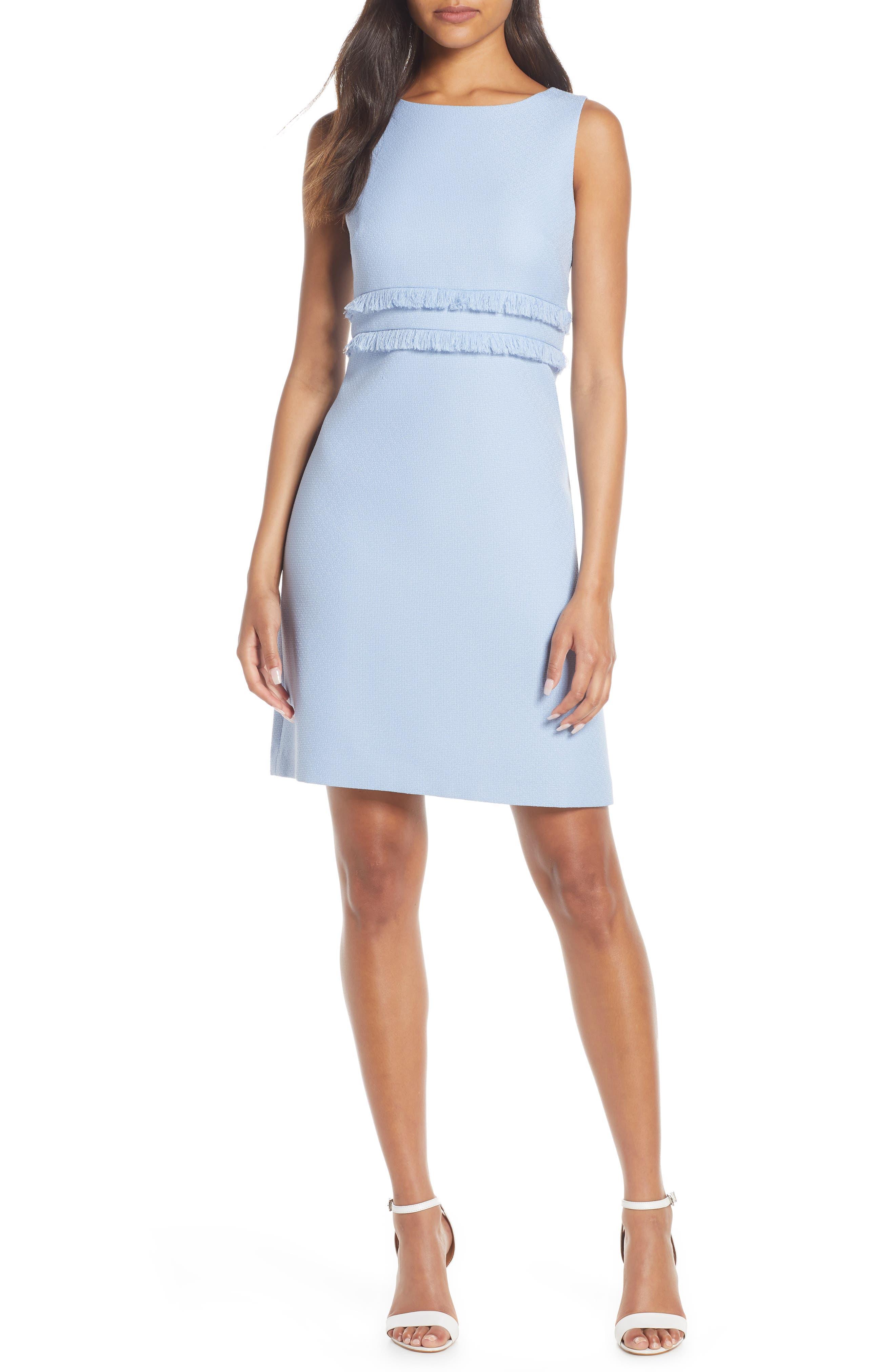 Petite Eliza J Fringe Sleeveless Sheath Dress, Blue