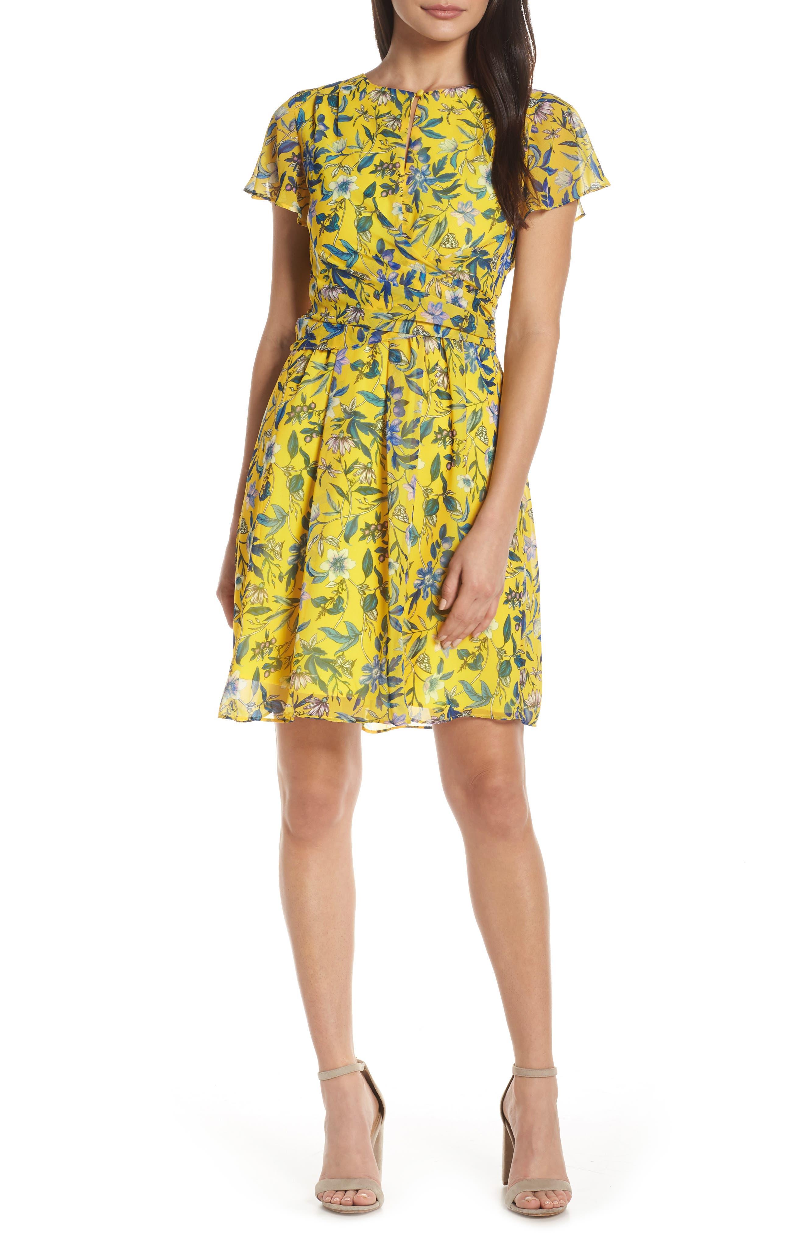 Sam Edelman Floral Fit & Flare Dress, Yellow