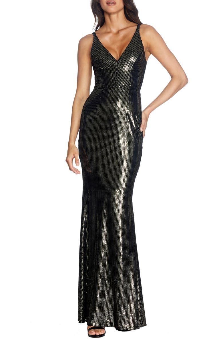 DRESS THE POPULATION Harper Mermaid Gown, Main, color, GOLD-BLACK