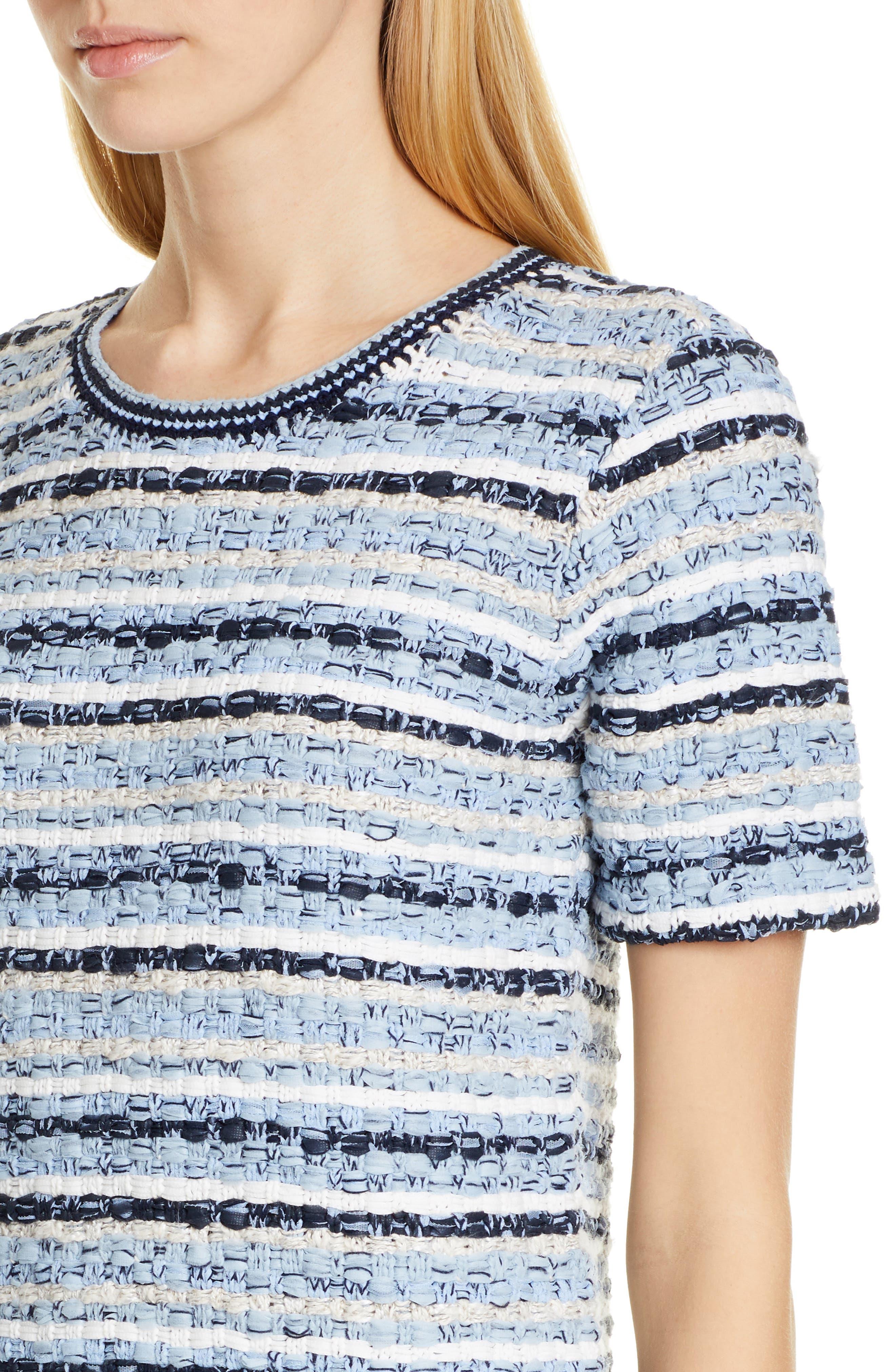 ,                             Tweed Shift Dress,                             Alternate thumbnail 5, color,                             BLUE MULTI TWEED