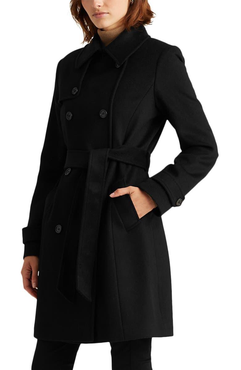 LAUREN RALPH LAUREN Wool Blend Trench Coat, Main, color, BLACK1