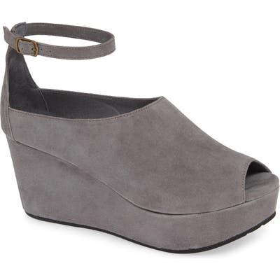Chocolat Blu Walter Ankle Strap Wedge Sandal, Grey