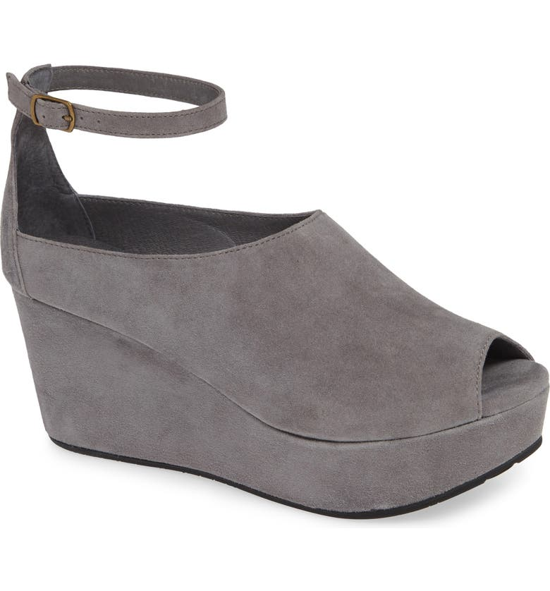 CHOCOLAT BLU Walter Ankle Strap Wedge Sandal, Main, color, GREY SUEDE