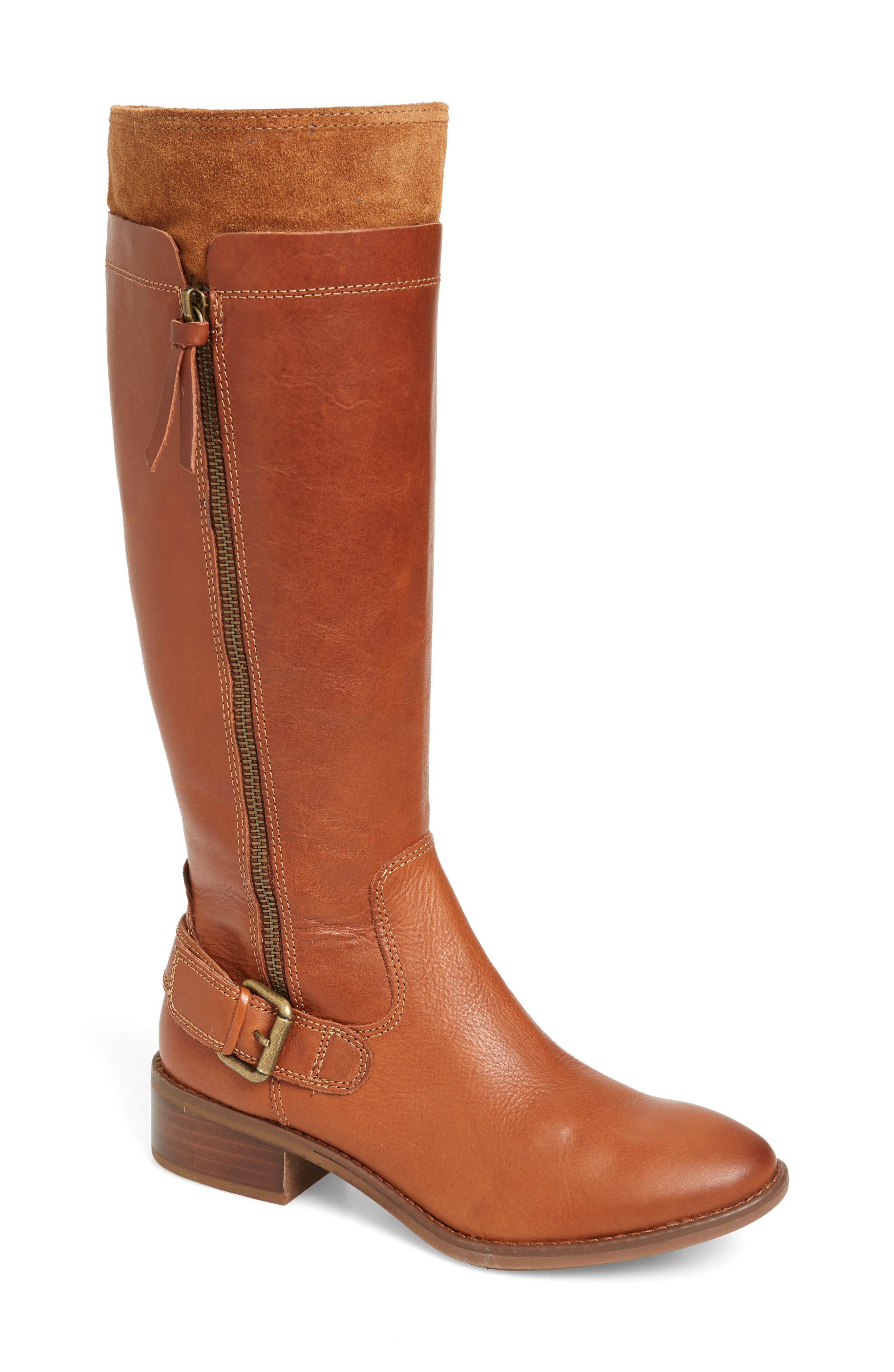 Suede trim adds a hint of mixed-media appeal to a burnished leather boot grounded by a cushioned footbed. Style Name: Comfortiva Corozal Knee High Boot (Women) (Wide Calf). Style Number: 5897240. Available in stores.