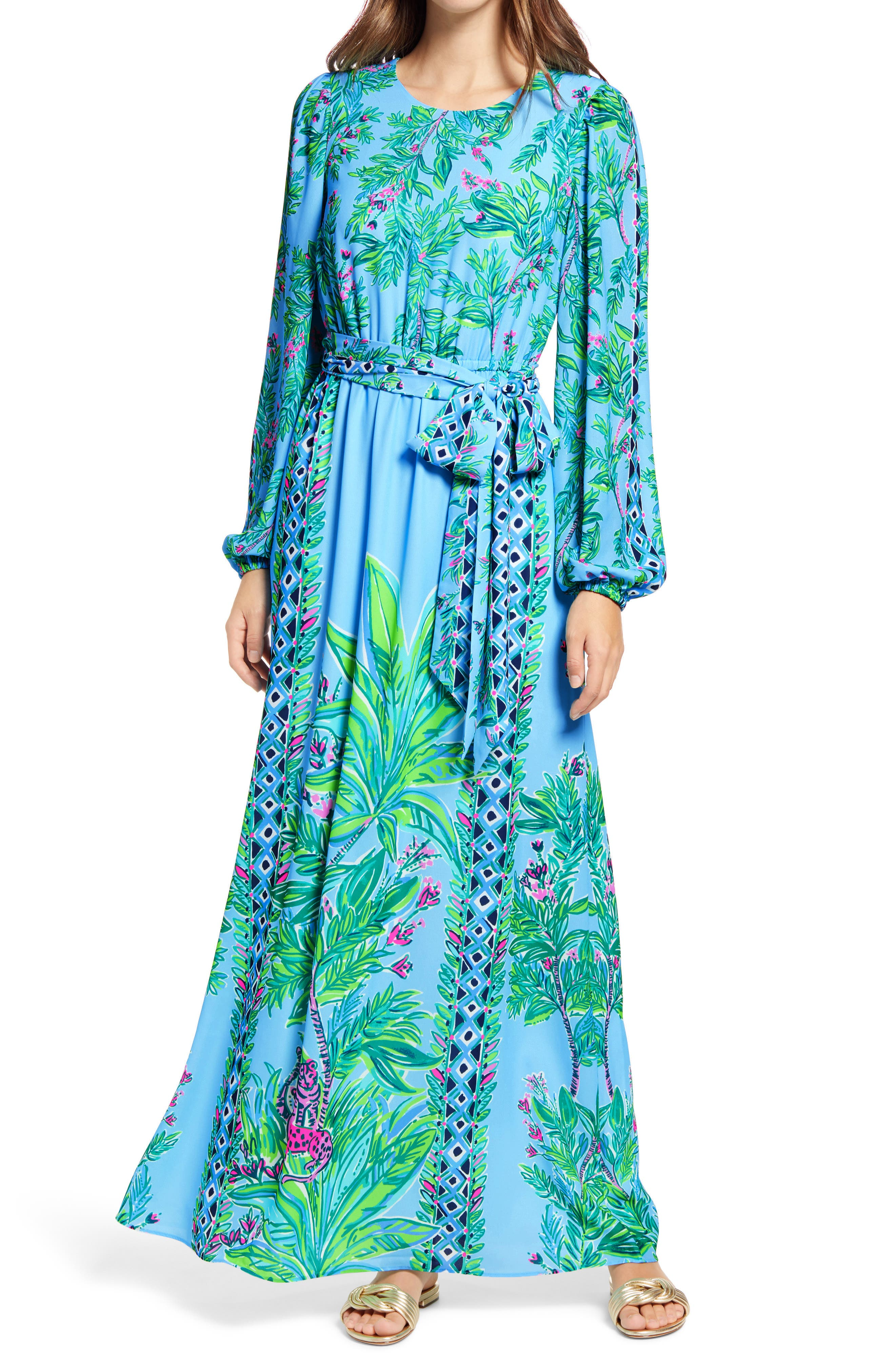 Get a taste of the island life with this vibrant long-sleeve maxi dress fashioned with a polished jewel neckline and a waist-defining belt. Style Name: Lilly Pulitzer Chyanna Maxi Dress. Style Number: 6129969. Available in stores.