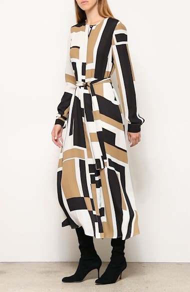 Emberley Graphic Block Long Sleeve Midi Shirtdress, video thumbnail