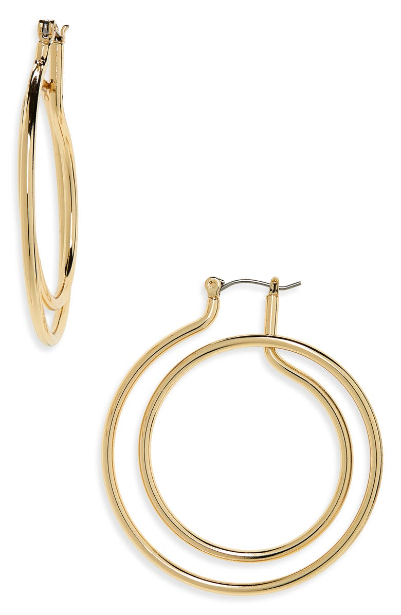 HALOGEN<SUP>®</SUP> Spiral Statement Hoop Earrings, Main, color, GOLD