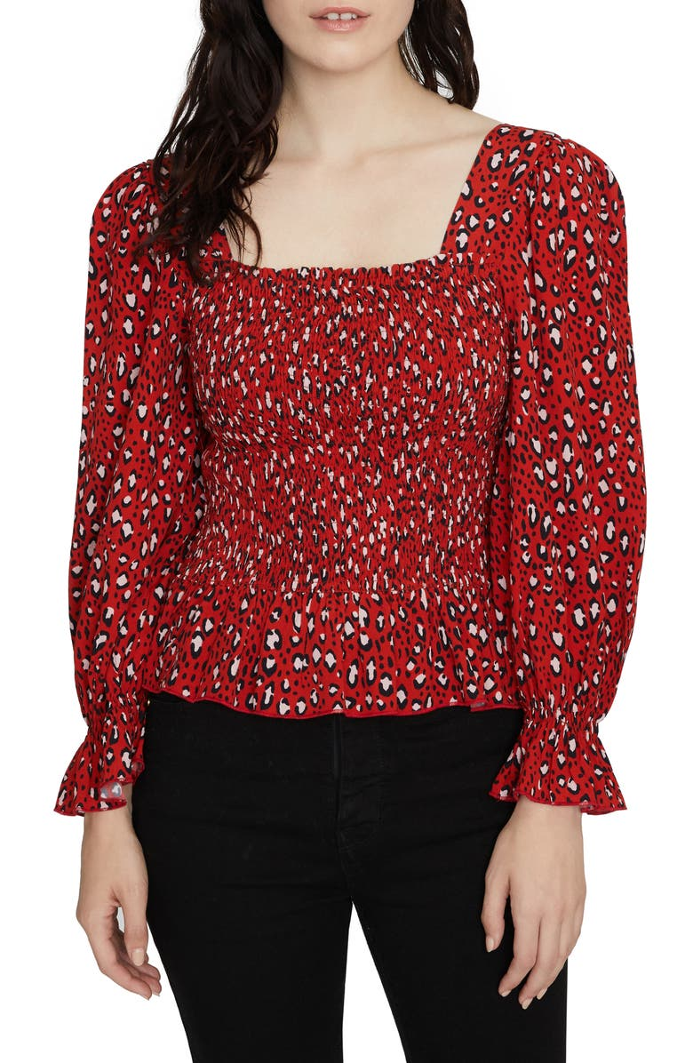 SANCTUARY Electra Print Smocked Top, Main, color, RED HOT LEOPARD