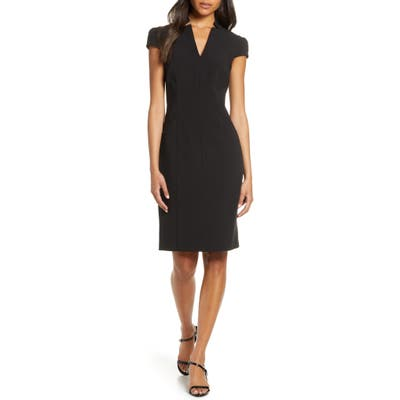Tahari Star Neck Cap Sleeve Stretch Crepe Sheath Dress, Black