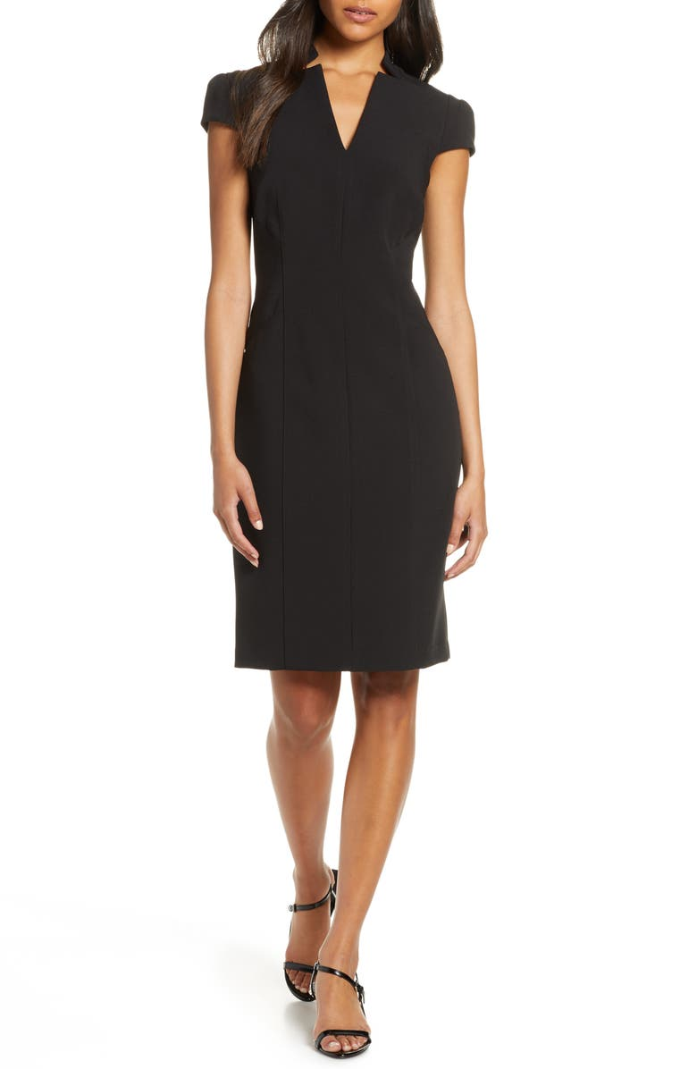 TAHARI Star Neck Cap Sleeve Stretch Crepe Sheath Dress, Main, color, 001