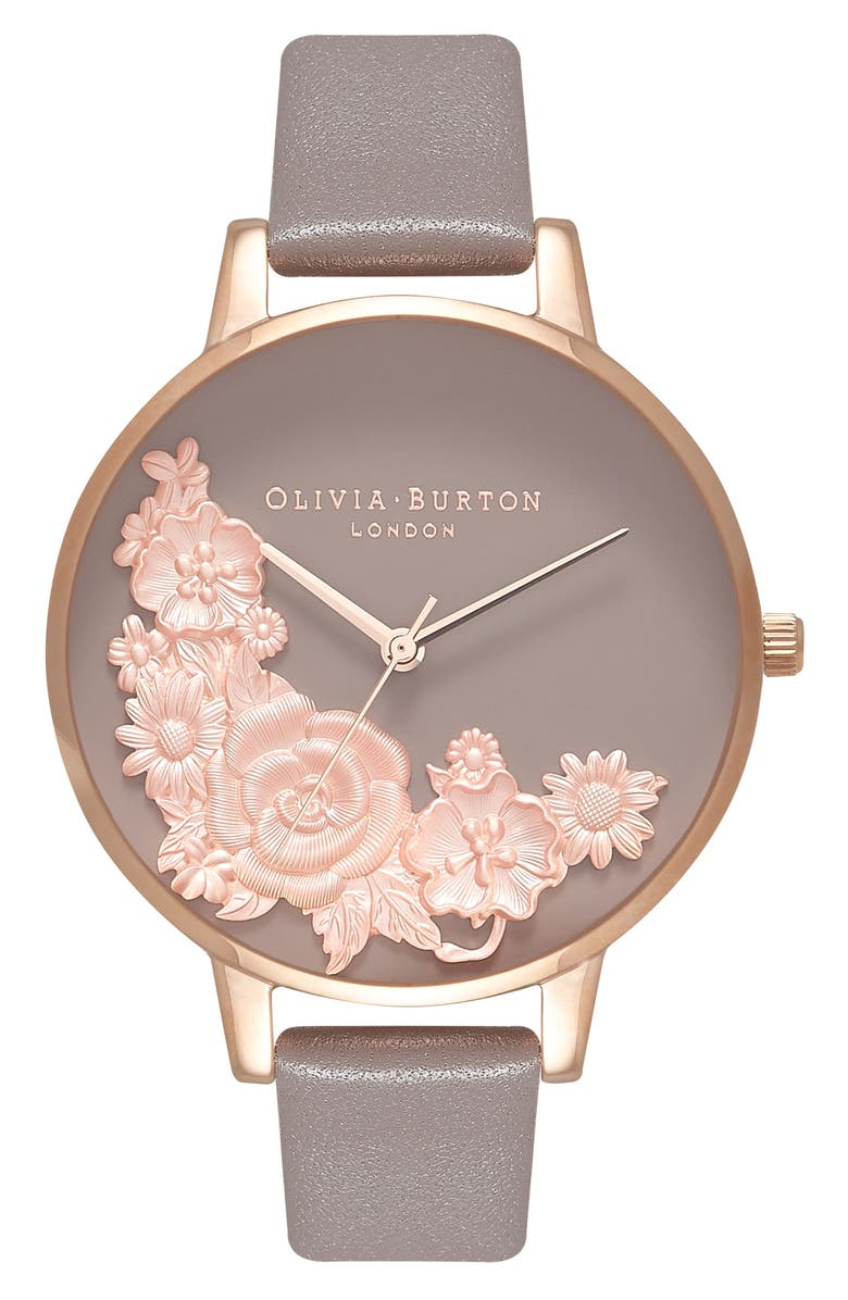 OLIVIA BURTON Floral Bouquet Leather Strap Watch, 38mm, Main, color, 020
