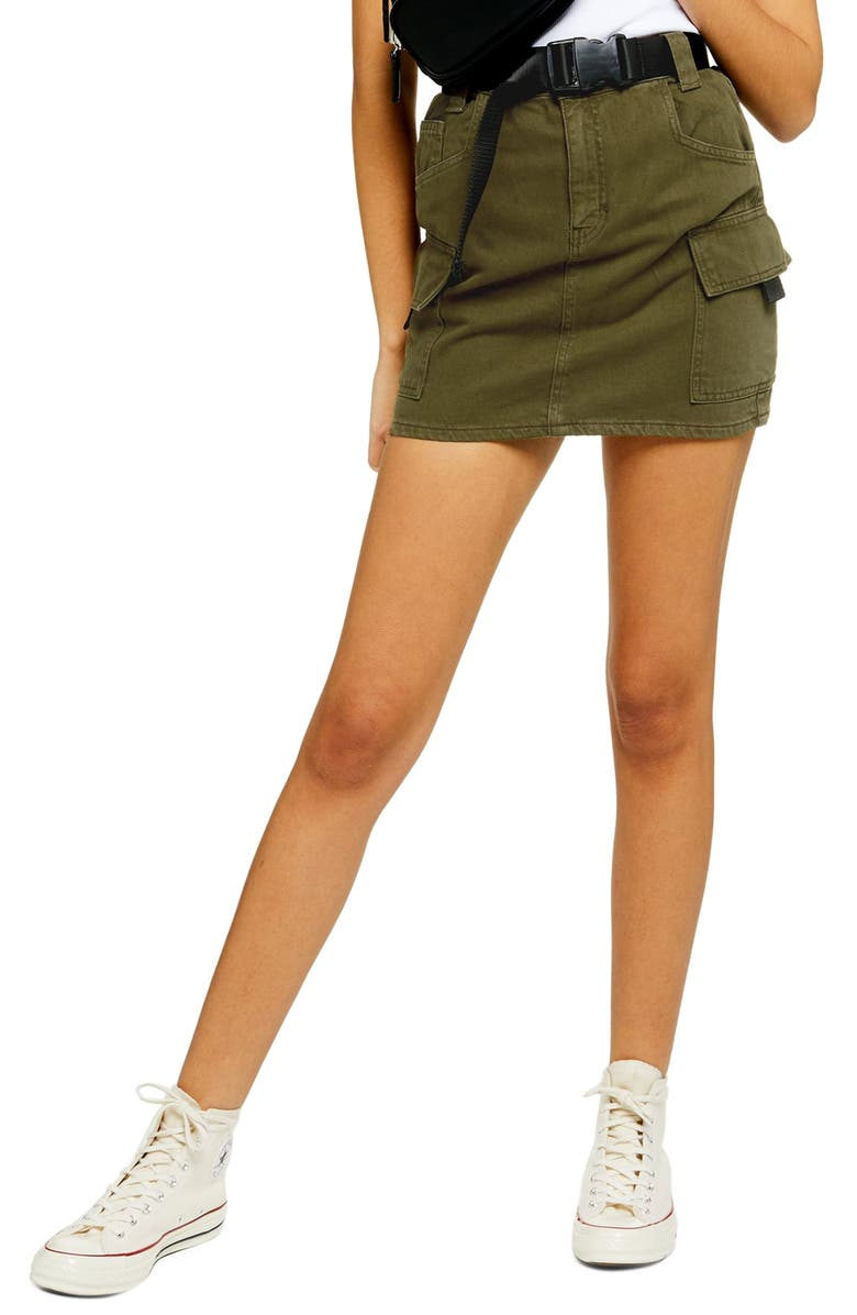 TOPSHOP Utility Denim Miniskirt, Main, color, OLIVE