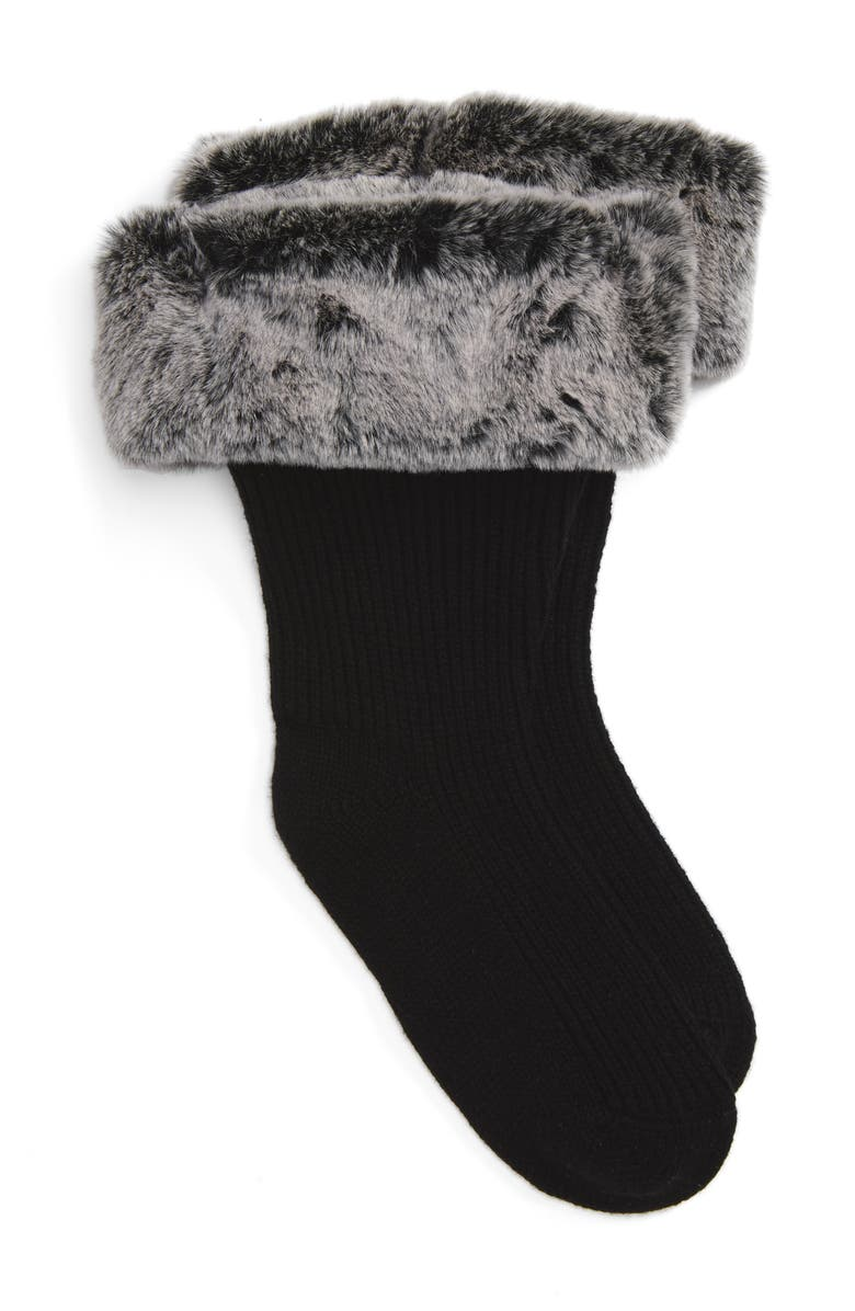 UGG<SUP>®</SUP> Rain Boot Socks with Faux Fur Cuff, Main, color, CHARCOAL WOOL